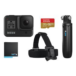 GoPro Digitalna videokamera GoPro Hero8 Black + Bundle (Shorty, Head strap, SD Card 32GB, dodatna baterija)