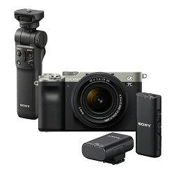SONY Mirrorless Camera Alpha a7C + FE 28-60mm f/4-6.3 (Silver) + Wireless mikrofon ECM-W2BT + Shooting Grip GP-VPT2BT