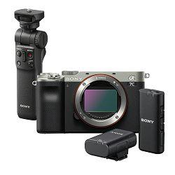 SONY Mirrorless Camera Alpha a7C Body (Silver) + Wireless mikrofon ECM-W2BT + Shooting Grip GP-VPT2BT