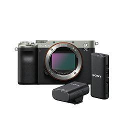 SONY Mirrorless Camera Alpha a7C Body (Silver) + Wireless mikrofon ECM-W2BT