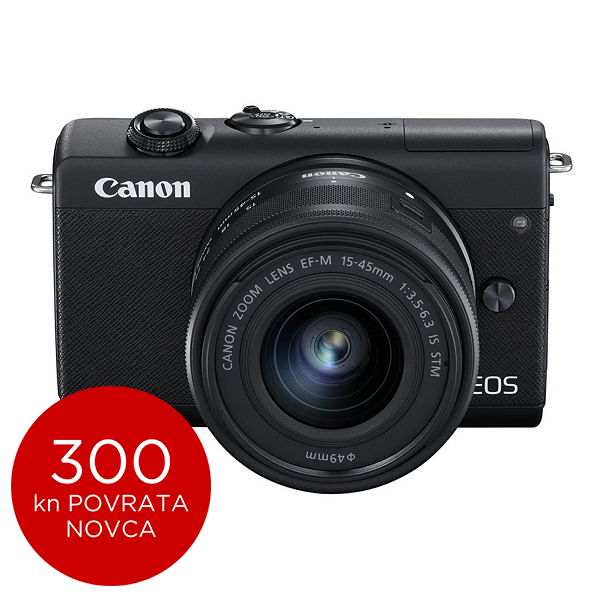 Canon Mirrorless Camera EOS M200 + EF-M 15-45mm IS STM (Black)