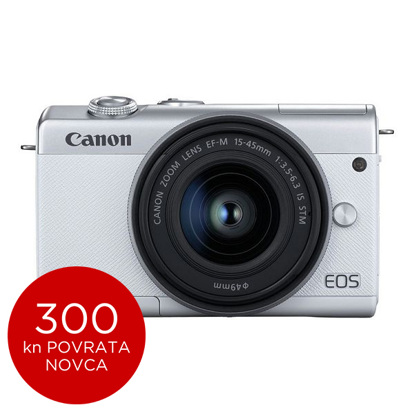 Canon Mirrorless Camera EOS M200 + EF-M 15-45mm IS STM (White)