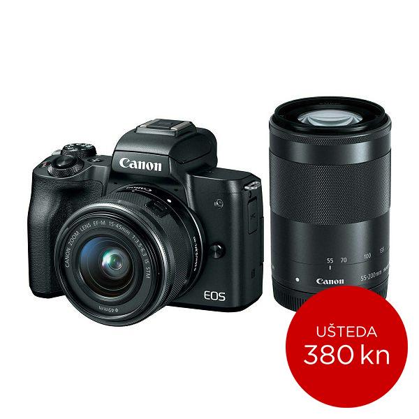 Canon Mirrorless Camera EOS M50 BK M15-45S+M55-200 SEE