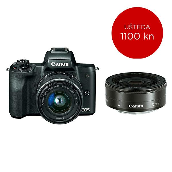Canon Mirrorless Camera EOS M50 BK M15-45 S+M22 SEE