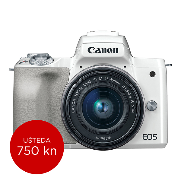Canon Mirrorless Camera EOS M50 + EF-M 15-45mm IS STM (White)
