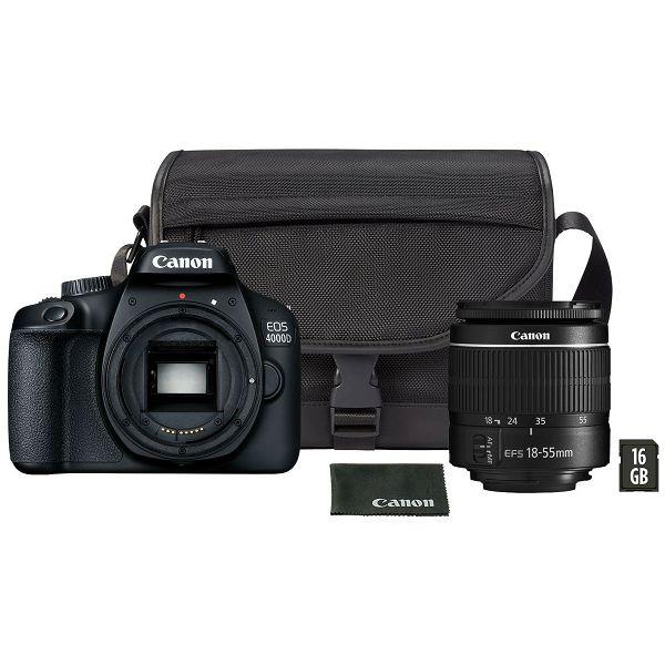 Canon Digitalni fotoaparat EOS 4000D EF-S18-55mm + torba SB130 + 16GB