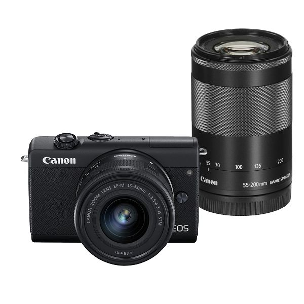 Canon Mirrorless Camera EOS M200 EF-M 15-45mm IS STM + EF-M 55-200mm IS STM (Black)